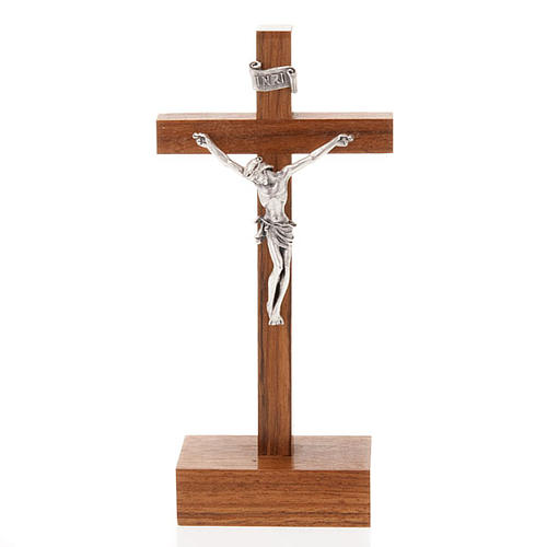 Straight Crucifix in wood with base 12,5 x 6 cm 1