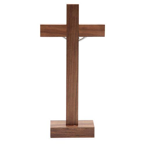 Kruzifix Nuss-Holz mit Basis 4