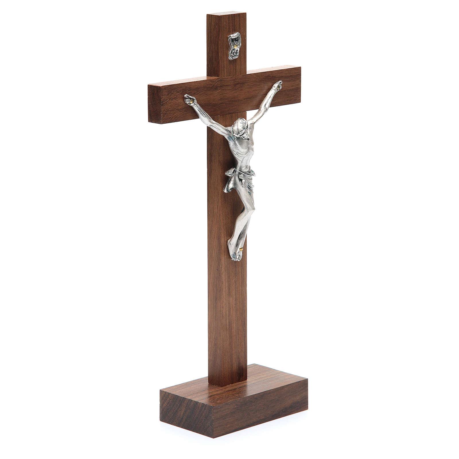 Crucifijo madera nuez con base 4