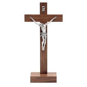 Crucifix de table en bois de noix avec base s1