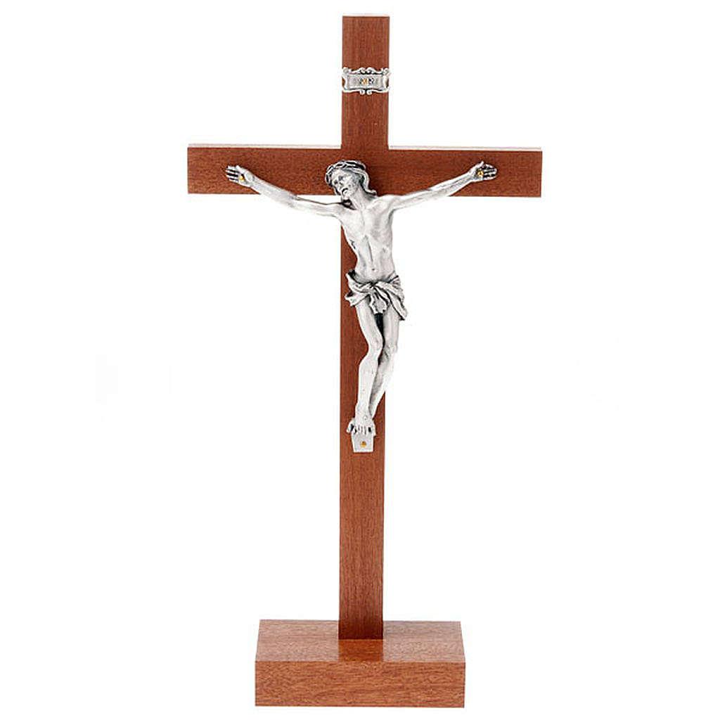 Crucifijo de madera de caoba con base 4