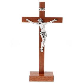 Crucifijo de madera de caoba con base s1