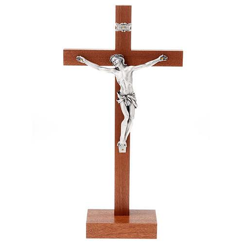 Crucifijo de madera de caoba con base 1
