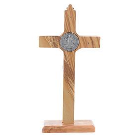Kruzifix Heilig Benedictus Olivenholz fuer Tisch oder zu haengen s4