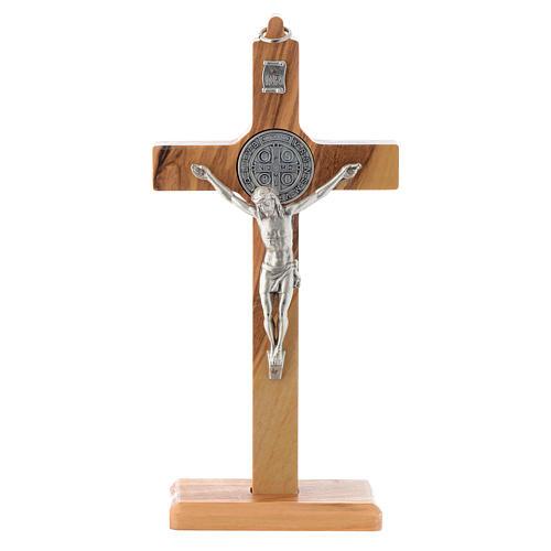 Kruzifix Heilig Benedictus Olivenholz fuer Tisch oder zu haengen 1