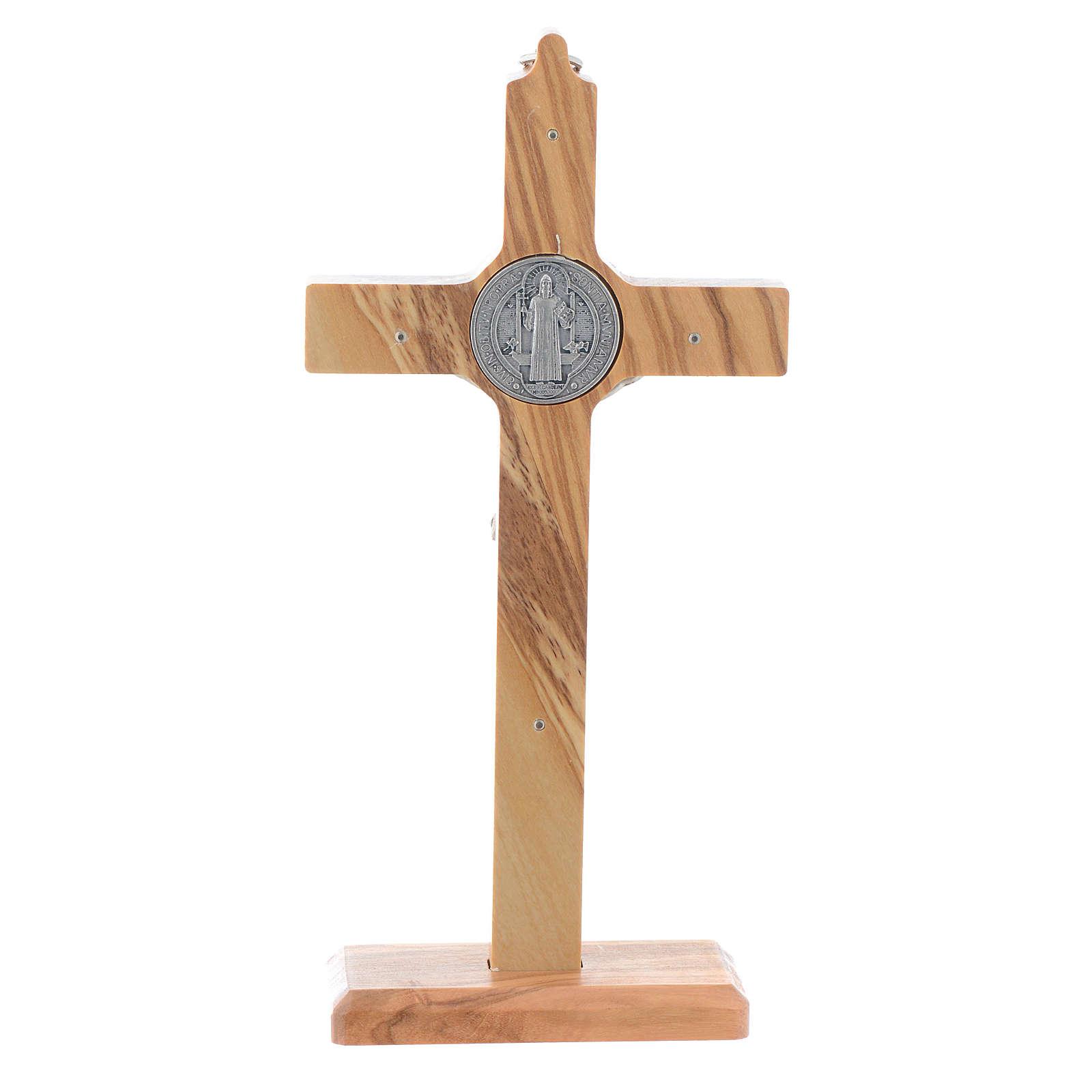 Crucifijo San Benito olivo para mesa o para colgar 4
