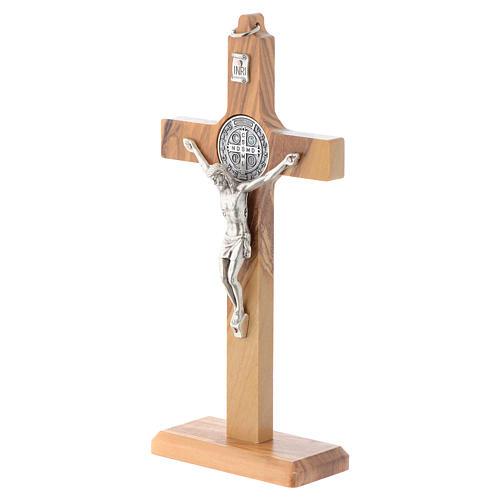 Crucifix St. Benoît bois d'olivier pour table ou mur 2