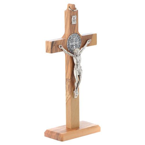 Crucifix St. Benoît bois d'olivier pour table ou mur 3