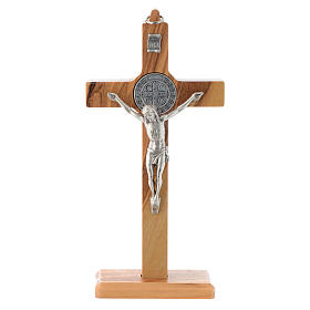 Olive wood Saint Benedict cross table and wall s1