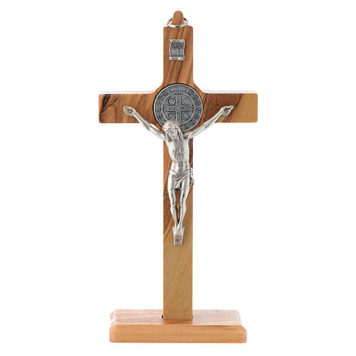 Olive wood Saint Benedict cross table and wall 1