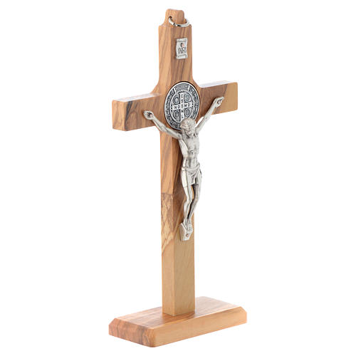 Olive wood Saint Benedict cross table and wall 3