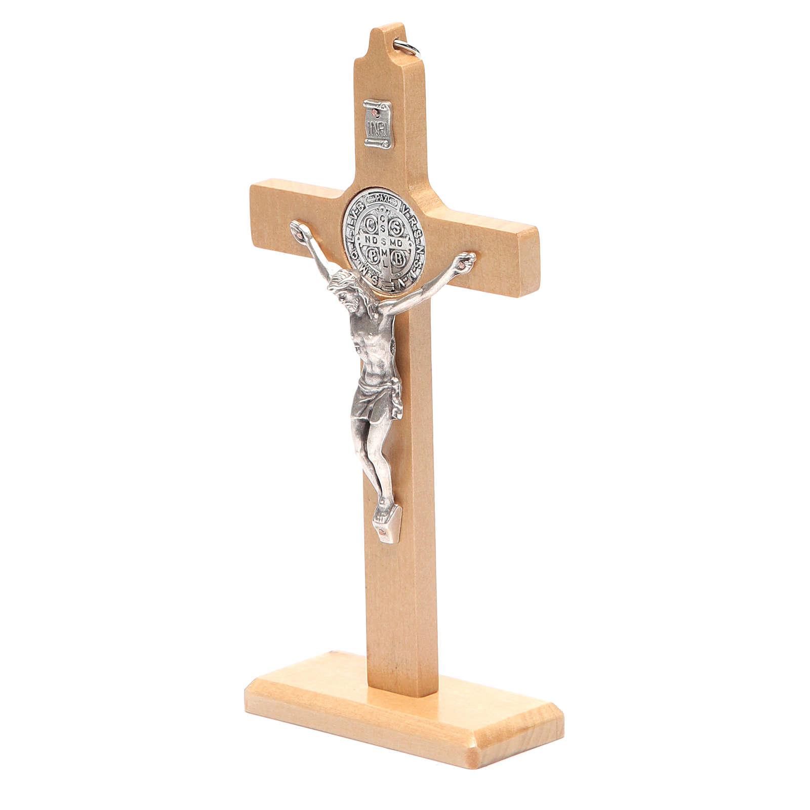 Crucifix St. Benoît bois naturel pour table ou mur 4