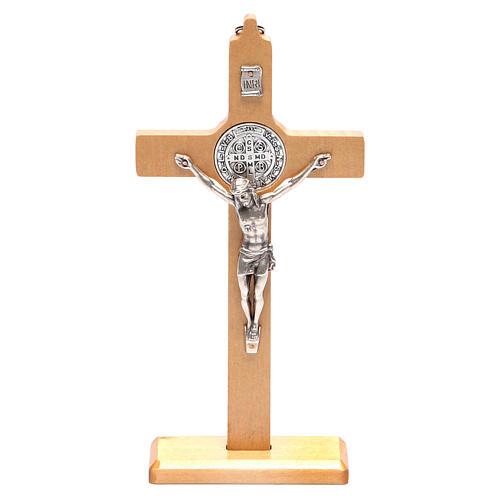 Crucifixo São Bento madeira natural de mesa ou de parede 1