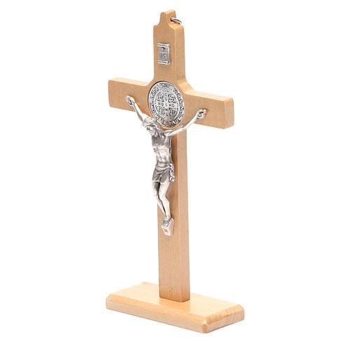 Crucifixo São Bento madeira natural de mesa ou de parede 2