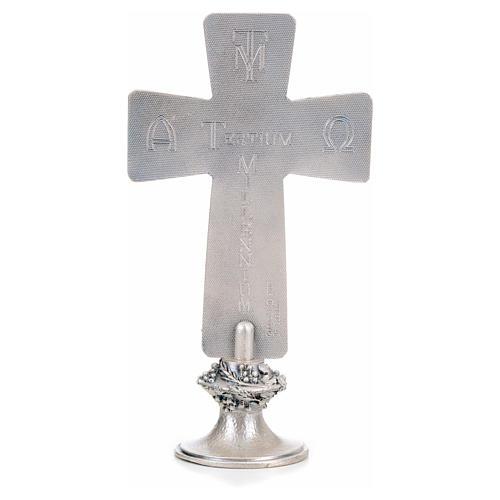 Croce da tavolo argentata immagini Deposizione Resurrez. Ascens. 3