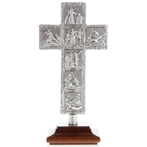 Crucifix, silver table cross with Way of the Cross 1