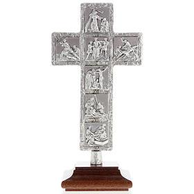 Cruz de mesa plateada vía Crucis s1