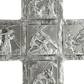 Cruz de mesa plateada vía Crucis s4