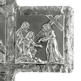 Cruz de mesa plateada vía Crucis s7