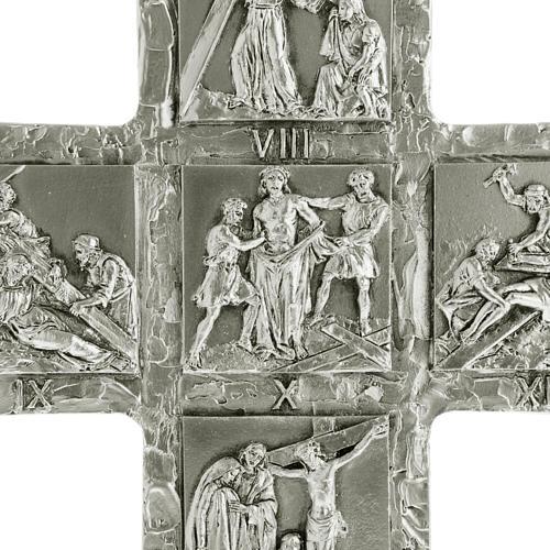 Cruz de mesa plateada vía Crucis 2