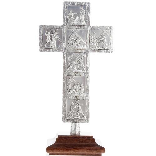 Cruz de mesa plateada vía Crucis 3