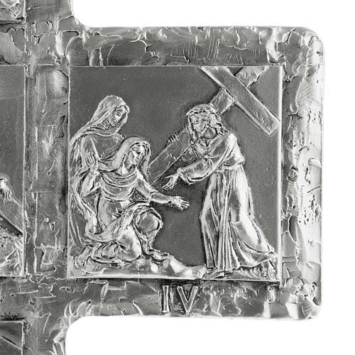 Cruz de mesa plateada vía Crucis 7