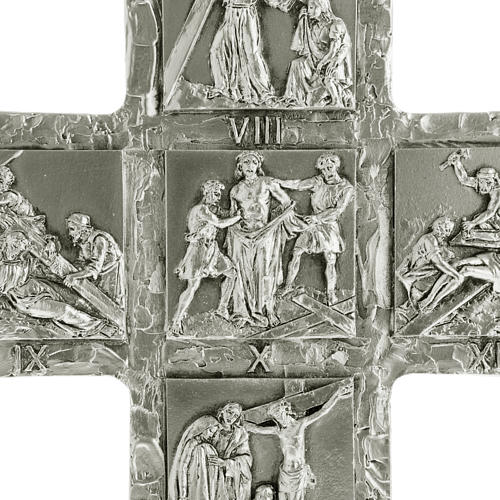 Crucifix, silver table cross with Way of the Cross 2