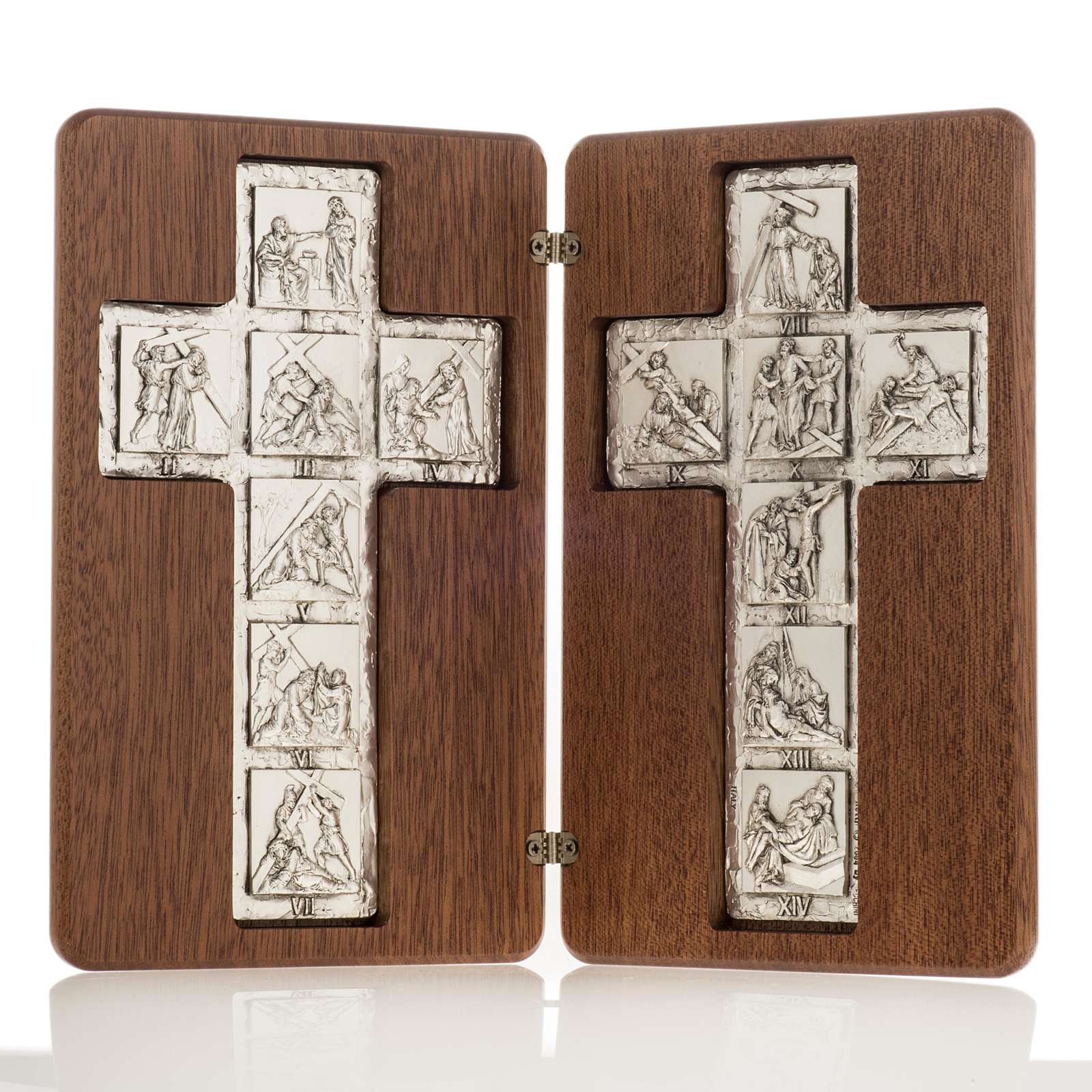 Diptych Way of the Cross silver, 14 stations 4