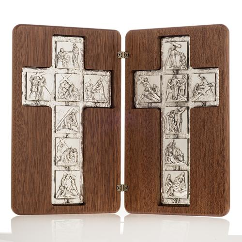 Diptych Way of the Cross silver, 14 stations 1