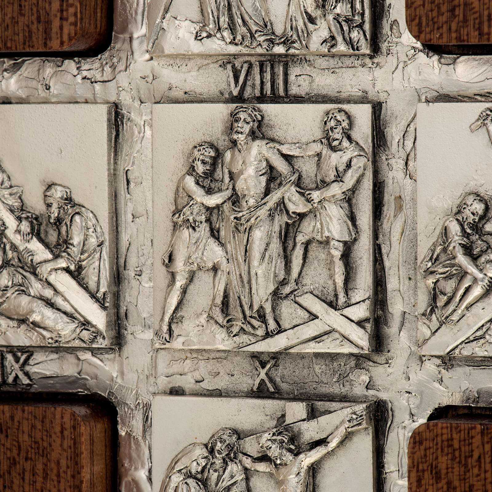 Díptico plata Cristo Resucitado y cruz Vía Crucis 14 estaciones 4