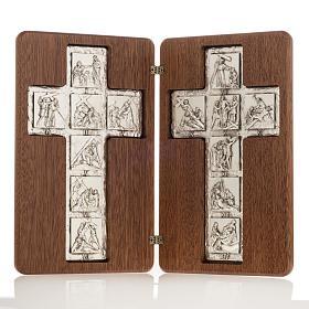 Díptico plata Cristo Resucitado y cruz Vía Crucis 14 estaciones s1