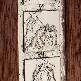 Díptico plata Cristo Resucitado y cruz Vía Crucis 14 estaciones s3