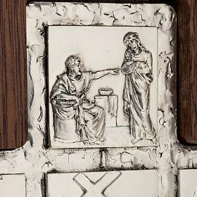 Díptico plata Cristo Resucitado y cruz Vía Crucis 14 estaciones s4