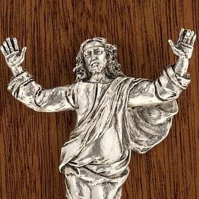 Díptico plata Cristo Resucitado y cruz Vía Crucis 14 estaciones s6