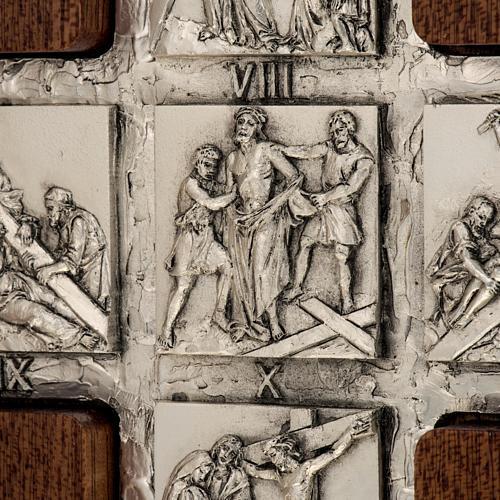 Díptico plata Cristo Resucitado y cruz Vía Crucis 14 estaciones 2