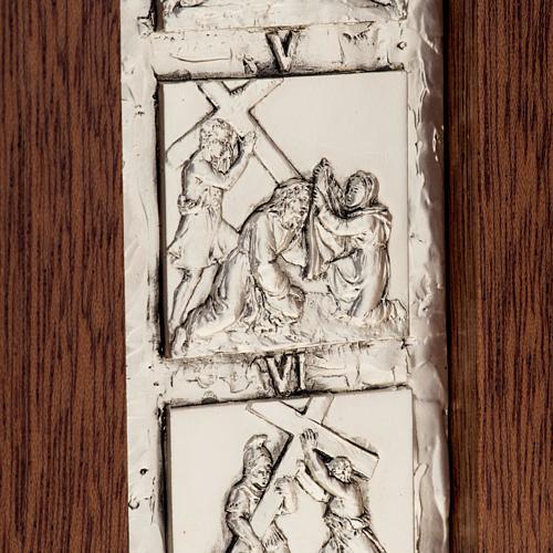 Díptico plata Cristo Resucitado y cruz Vía Crucis 14 estaciones 3