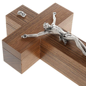 Crucifijo altar de mesa madera de nogal s3