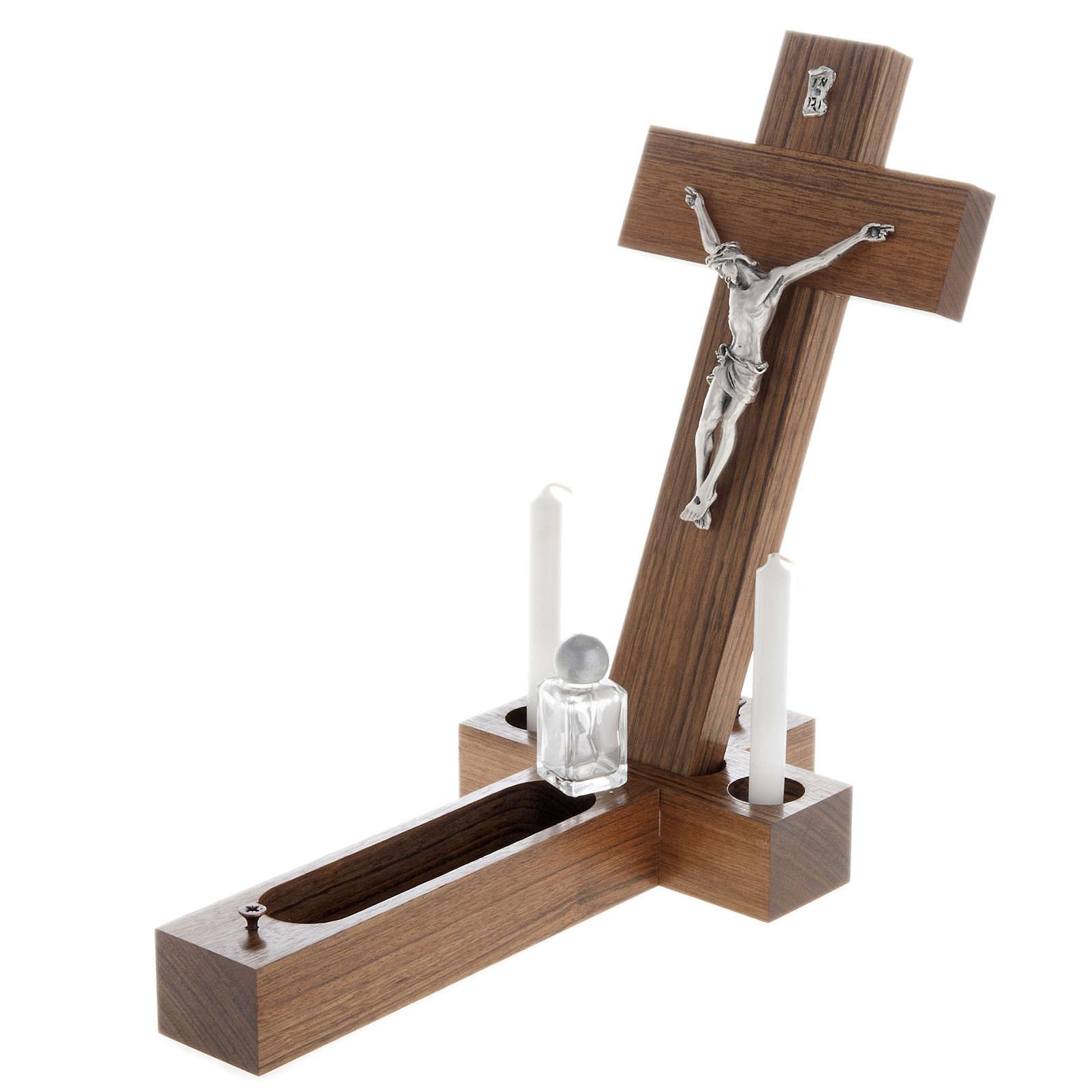 Crocefisso altarino da tavolo legno di noce 4