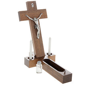 Crocefisso altarino da tavolo legno di noce s4