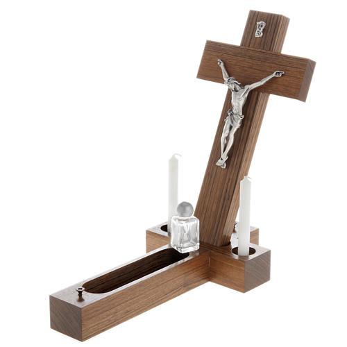 Crocefisso altarino da tavolo legno di noce 5