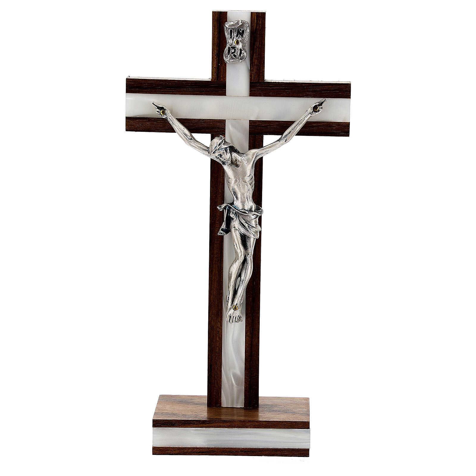 Crucifijo de mesa en madera de caoba 4