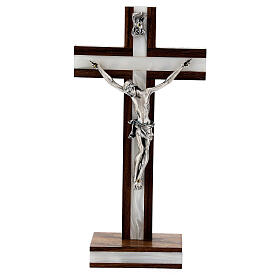 Croix de table en bois de noix décor simili nacre s1