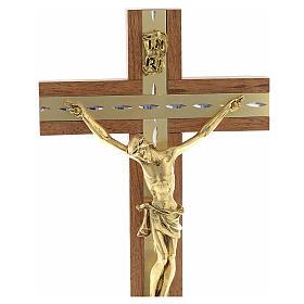 Crucifijo madera y metal dorado de mesa s4