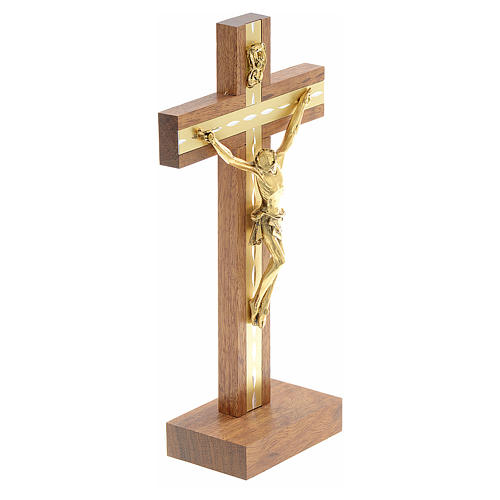 Crucifijo madera y metal dorado de mesa 3