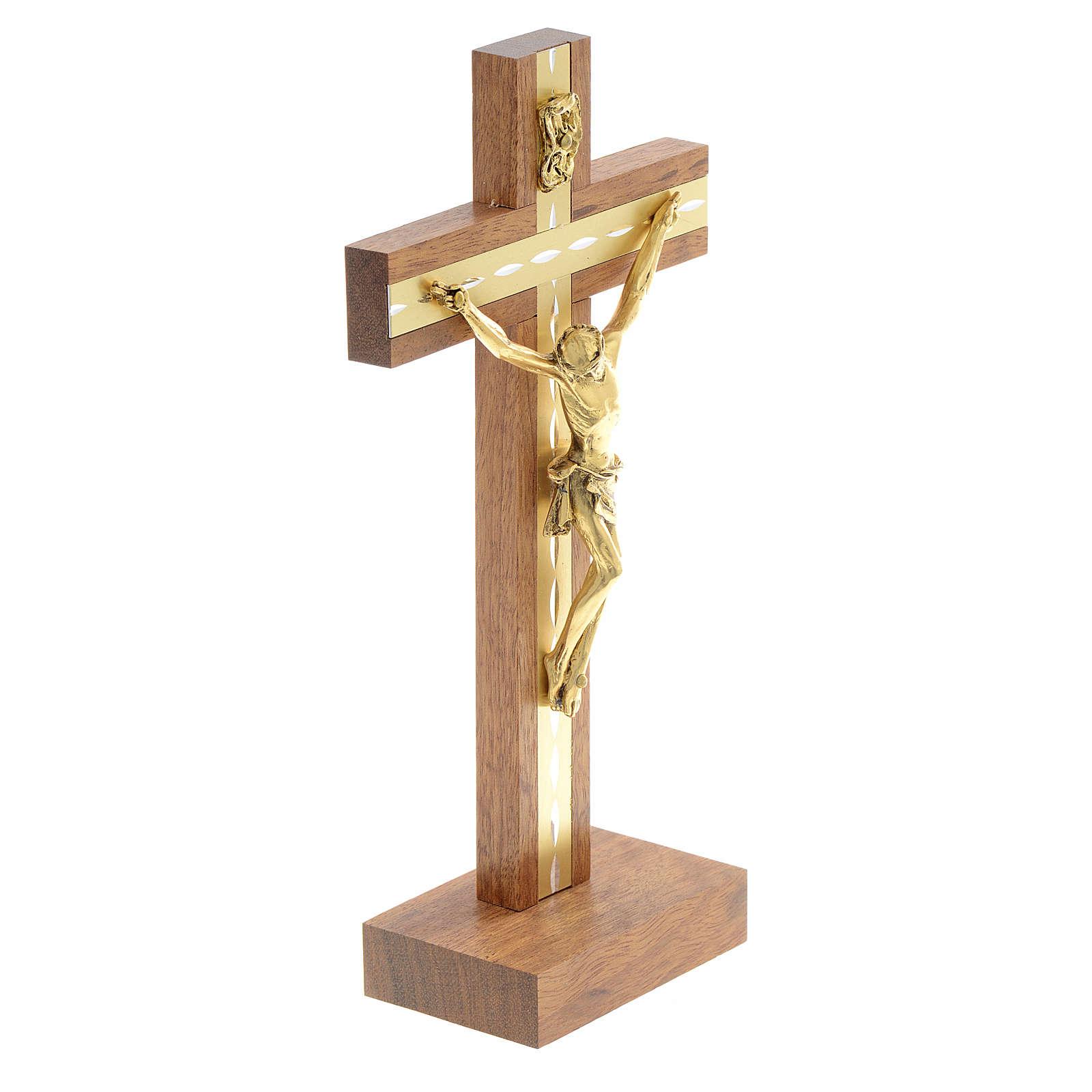 Krucyfiks stojący drewno i pozłacany metal 4