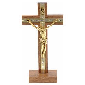 Krucyfiks stojący drewno i pozłacany metal s5