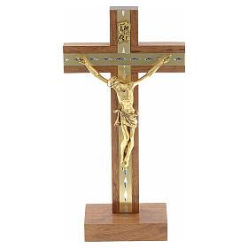 Krucyfiks stojący drewno i pozłacany metal s1
