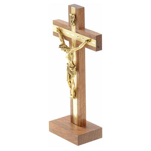 Krucyfiks stojący drewno i pozłacany metal 6