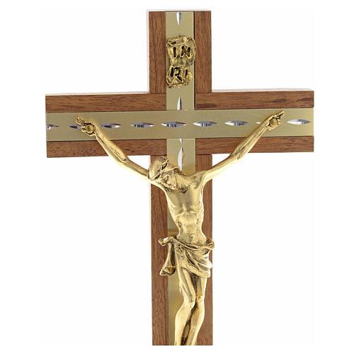 Krucyfiks stojący drewno i pozłacany metal 8