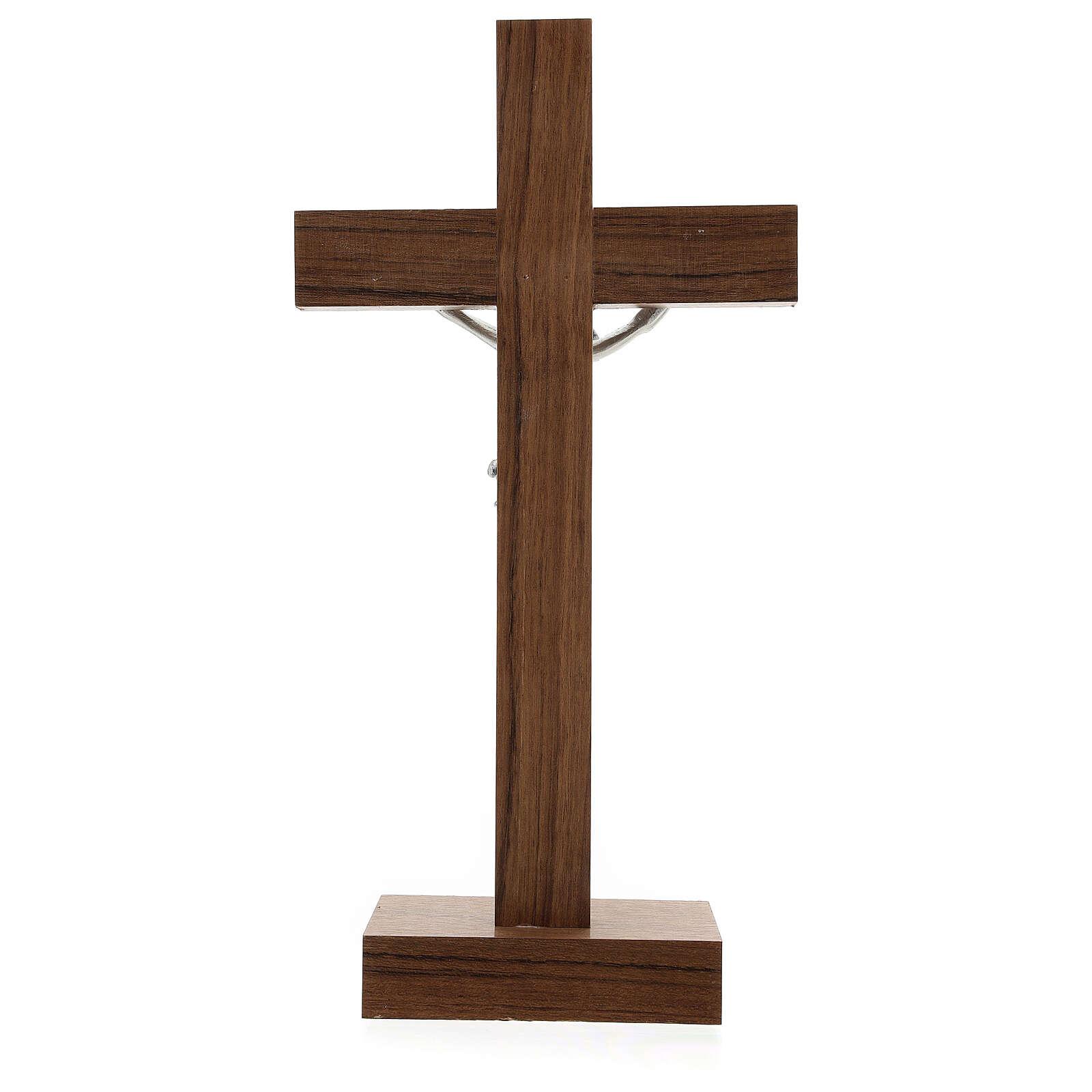 Crucifijo de mesa de madera, metal plateado y aluminio 4